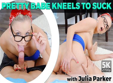 Pretty Babe Kneels To Suck