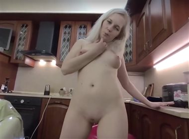 Hot Blonde Lima Play With Toy In The Kitchen